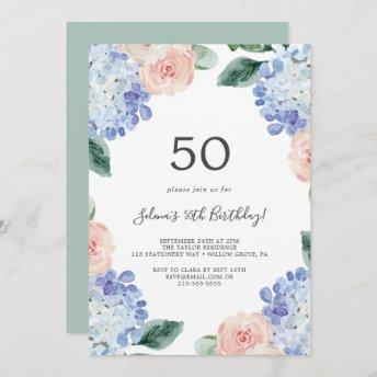 Elegant Blue Hydrangea | White 50th Birthday Party Invitation