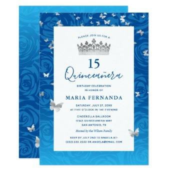 Elegant Blue Rose Silver Crown Floral Quinceanera Invitation