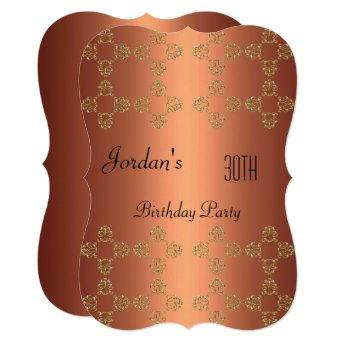 Elegant Copper Gold 30th Birthday Party Invitation