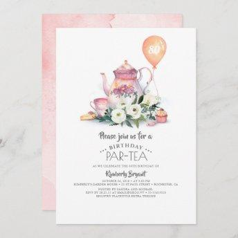 Elegant Floral Birthday Par-tea Invitation