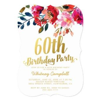 Elegant Floral White Gold 60th Birthday Party