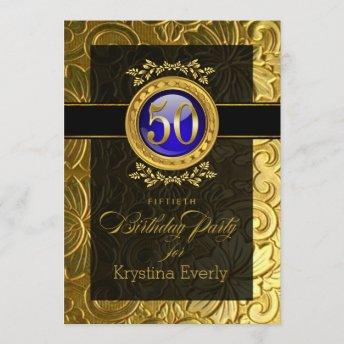 Elegant Glamour Embossed 50th Birthday Invitation
