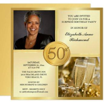Elegant Gold 50th Birthday Party Photo Invitation