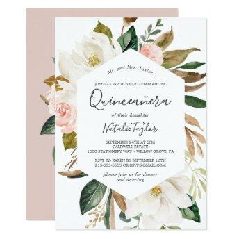 Elegant Magnolia | White and Blush Quinceañera Invitation