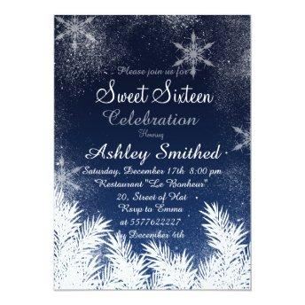 Elegant Navy Blue Snowflake Winter Sweet 16 Invitation