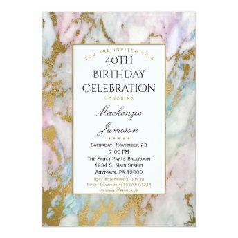 Elegant Pink Blue Gold Marble Birthday Invitation
