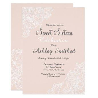 Elegant pink blush floral lace Sweet 16 Invitation