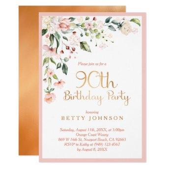 Elegant Pink & Gold Floral Woman's 90th Birthday Invitation