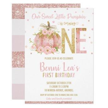 Elegant Pink Pumpkin 1st Birthday One Girl Invitation