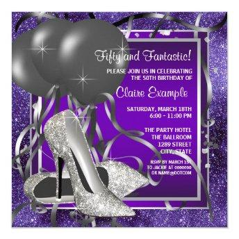 Elegant Purple High Heels Birthday Party