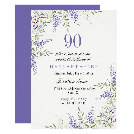 205 Elegant Purple Lavender 90th Birthday Invite