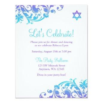 Elegant Purple Teal Flourish Bat Mitzvah Reception