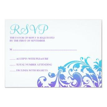 Elegant Purple Teal Flourish Bat Mitzvah RSVP Card