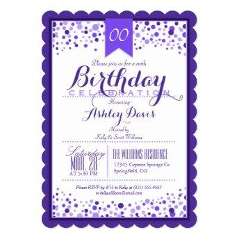 Elegant Purple, White Adult or Teen Birthday Party