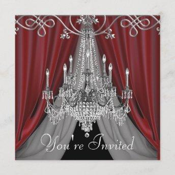 Elegant Red and Black Chandelier Party Invitation