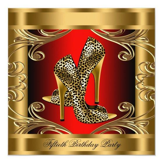 231 Elegant Red Black And Gold Birthday Party Invitation