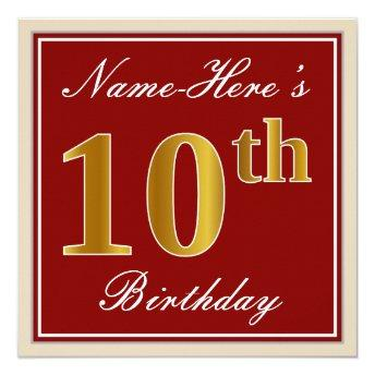 Elegant, Red, Faux Gold 10th Birthday; Custom Name Card