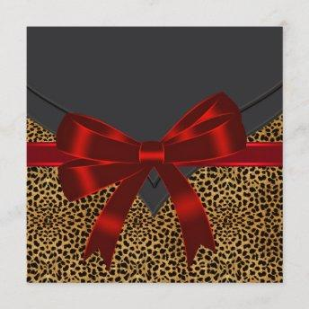 Elegant Red Leopard Party Invitation
