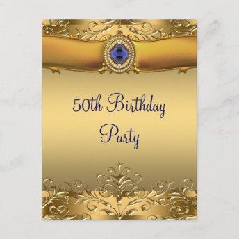 Elegant Royal Blue and Gold 50th Birthday Party Invitation