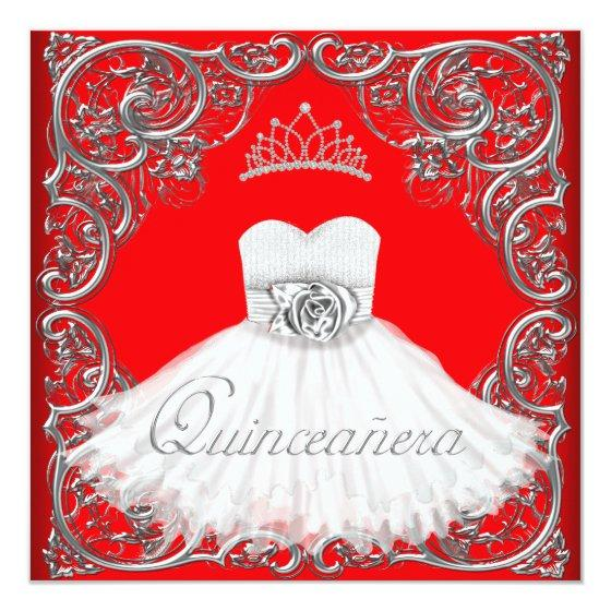 Elegant Silver Red Quinceanera Birthday Party Invitations