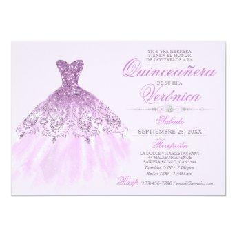 Elegant Spanish Quinceañera Mis Quince Purple Invitation