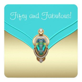 Elegant Teal Blue and Gold Birthday Party