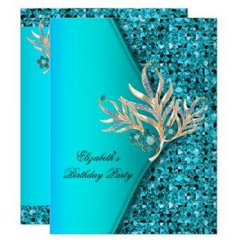 Elegant Teal Blue Aqua Glitter  Party