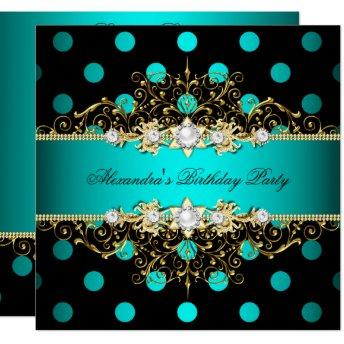 Elegant Teal Gold Black Polka Dots Birthday Party