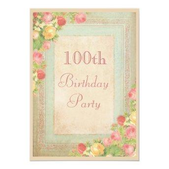 Elegant Vintage Roses 100th Birthday Party
