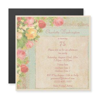 Elegant Vintage Roses 75th Birthday Party Magnetic Invitation