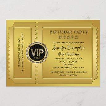 Elegant VIP Golden Ticket Birthday Party Invitation