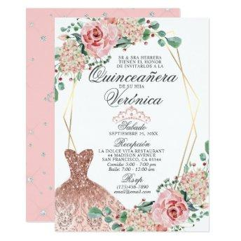 Elegant Watercolor Pink Spanish Quinceañera Quince Invitation