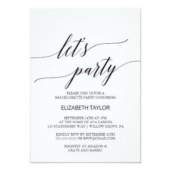 Elegant White and Black Calligraphy Let's Party