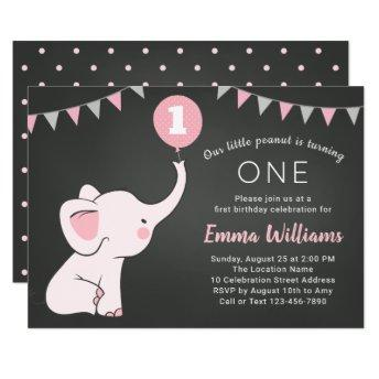 Elephant 1st Birthday Girl Invitation - Custom Age