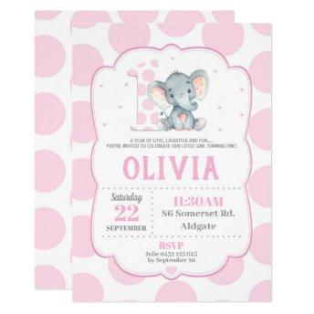 Elephant 1st Birthday Invitation Pink Polka Dots