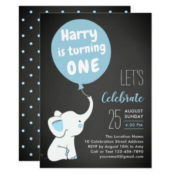 Elephant 1st Birthday Party Invitation for Boy