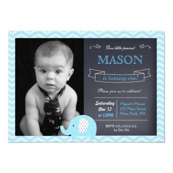 Elephant Chalkboard Birthday Party Invitation
