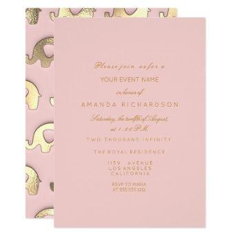 Elephant Glitter Pink Gold Birthday Shower Glass Invitation