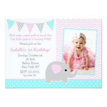 Elephant Photo Birthday Party Invitation