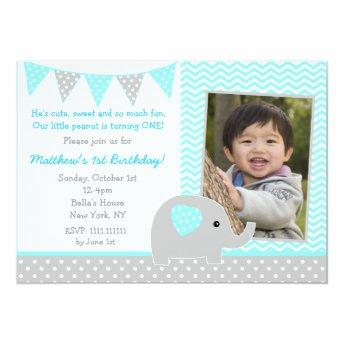 Elephant Photo Birthday Party Invitation for Boy