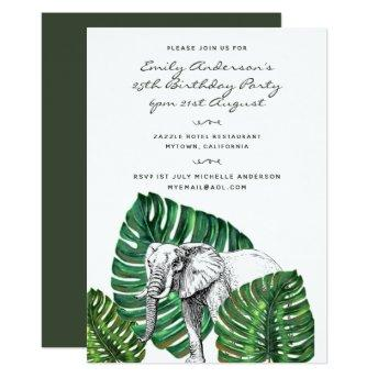Elephant Safari Birthday Invitation ANY AGE