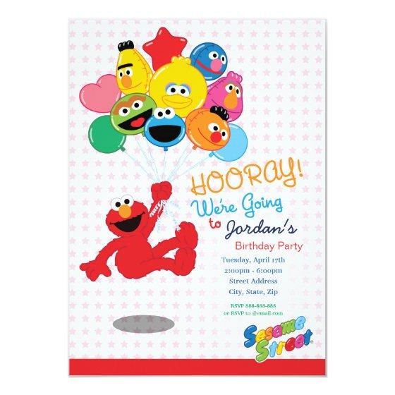 Elmo and Pals Birthday Balloons Invitation