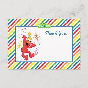 Elmo Striped Birthday Thank You Invitation