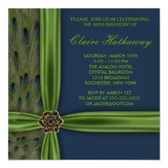 Emerald Blue Peacock 40th Birthday Party Invitation