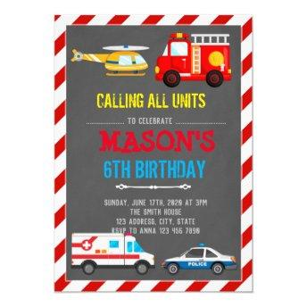 EMERGENCY VEHICLES TRANSPORTATION BIRTHDAY Invitation