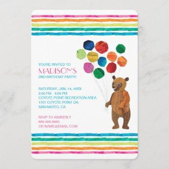 Eric Carle | Beary Girl Striped Birthday Invitation