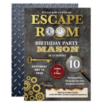 Escape room mystery solving challenge birthday invitation