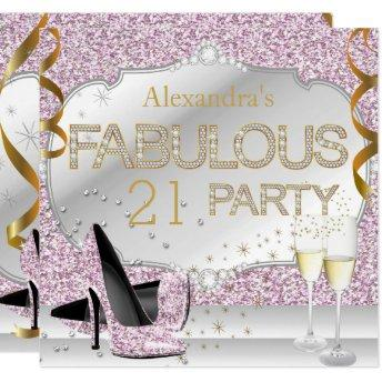 Fabulous 21 Pink Glitter Glamour Birthday Party Invitation