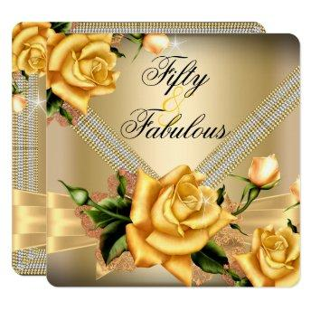 Fabulous 50 Gold Yellow Rose Floral Birthday Party Invitation