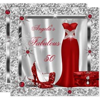 Fabulous 50 Party Red Silver Snowflakes Invitation
